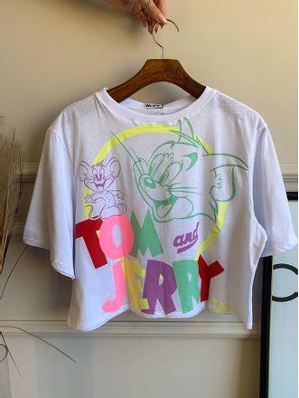T-Shirt-Curta-Tom-E-Jerry-Lanca-Perfume-Off-White