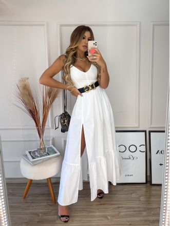 Vestido-Longo-Tricoline-Cinto-Corselet-Branco