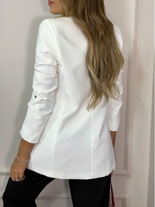 Blazer-Long-Line-White