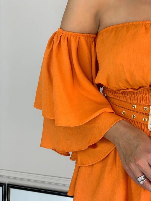 Vestido-Curto-Ciganinha-De-Linho-Cinto-Duplo
