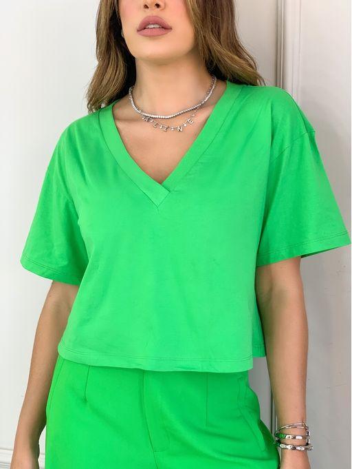 T-Shirt-Over-Decote-V-Ribana-Jessy-Verde