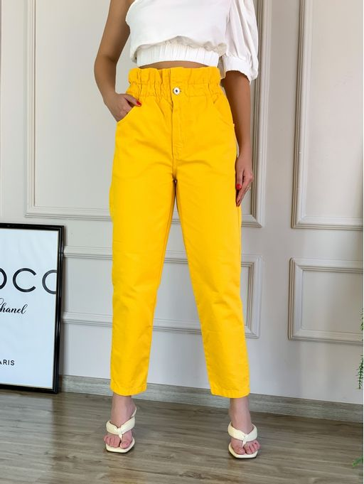 Calca-Sarja-Clochar-Amarelo-Colcci