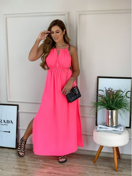 Vestido-Halter-Neon-Rosa