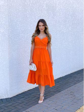 Vestido-Midi-Stephanie-Crepe-Laranja