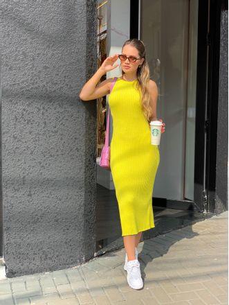 Vestido-Midi-Tricot-Grace-Ling-Amarelo